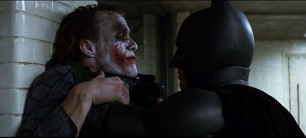 batman threatening joker