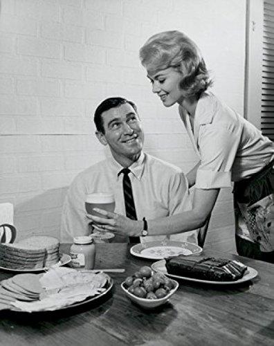 Woman serving man good