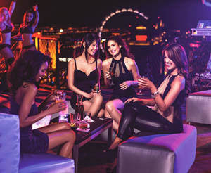 table with girls at nightclub
